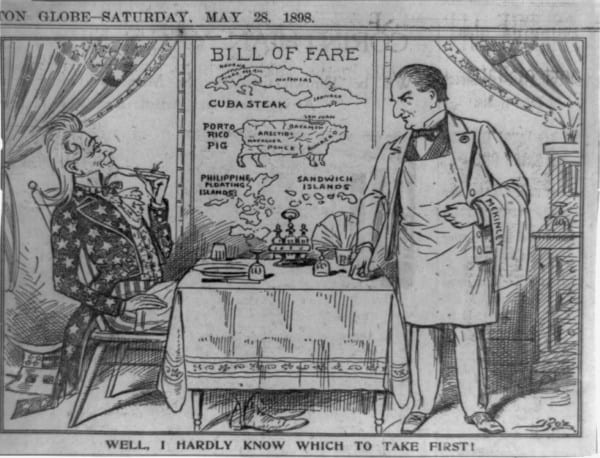 Kelner i polityk na starej karykaturze politycznej